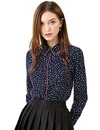 Allegra K 女式长袖尖领波点纽扣衬衫