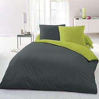 Home Passion 61201 超细纤维被套 3 件套 深灰色/绿色 240 x 220