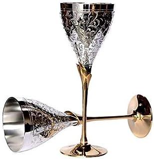 TUZECH 葡萄酒香槟威士忌酒杯 - 纯手工镀银雕刻高级酒杯   香槟酒杯   派对玻璃餐具套装 餐具 商务礼品 - (283.5 克 2 件) Silver Without box 2 Piece