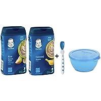Gerber Baby Cereal Rice - Banana and Oatmeal Banana with Spoon and Bowl - Bundle of 4