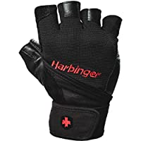 Harbinger Pro WristWrap Vented Cushioned Leather Palm Weightlifting Gloves