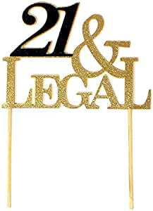 All About Details 21 & Legal 蛋糕装饰,1 件,21 岁生日快乐 21 岁生日 Gold & Black 6in wide, 8in tall