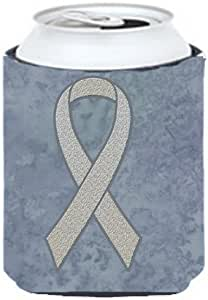 Caroline's Treasures AN1210CC Clear Ribbon for Lung Cancer Awareness Can or Bottle Hugger, Multicolor