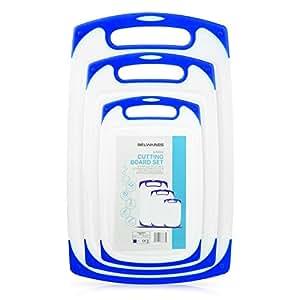 塑料砧板 3 件套,可用洗碗机清洗双面砧板带防滑脚和深滴果汁槽,适用于切菜食物,不含 BPA,经 FDA 批准的材料和环保 蓝色 Set of Three BW-CBPB