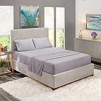 Nestl 床上用品套装 - 1800 个深口袋床单套装 - 酒店豪华双磨毛超细纤维床单 - 深口袋床笠、床单、枕套 Light Gray Lavender 全 XL Nestl-18-3LN-FXL-grylvndr-FBA-MX