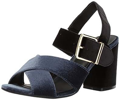 Kenneth Cole REACTION Lilia 天鹅绒礼服凉鞋 带喇叭形鞋跟 靛蓝色 7 M US