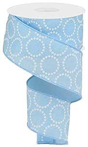 """珍珠珠圆圈帆布线边缘丝带 - 10 码 浅蓝色 2.5"""" RG0130614"""