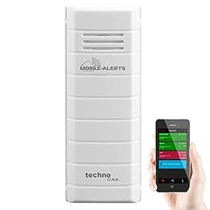 移动预警辅助传感器 MA 10100——可将数据传输至智能手机的温度传感器,温度计,与 Alexa 兼容,温度控制,白色,3.2 × 1.7 × 8.7 厘米