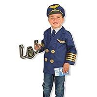Melissa & Doug 飞行员角色扮演服装套装(6 件) - 夹克、领带、帽子、翅膀、指导育克、清单