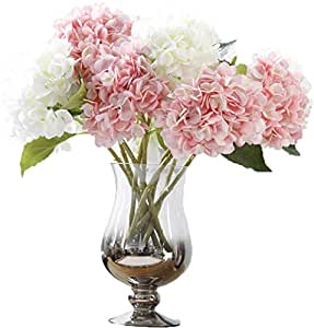 LNHOMY 人造丝花法式假日美丽水手花束花朵,适用于家庭婚礼装饰 4 个装,蓝色 白色 粉色