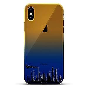 奢华设计师,3D 印花,时尚,高端,高端,Chameleon 变色效果手机壳 iPhone Xs MaxLUX-IMXCRM2B-FACTORY1 Industrial Skyline Dusk Blue
