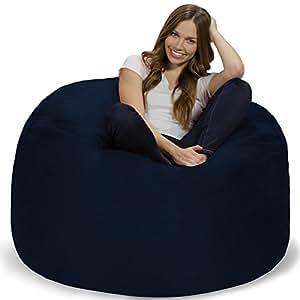 Chill Sack 豆包椅:巨大的 4 英尺*泡沫家具豆袋 - 大沙发带软超细纤维罩