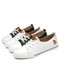 西漠公牛XIMO BULL 夏季情侣款板鞋 真皮板鞋 情侣小白鞋 刺绣小蜜蜂板鞋 XM85-Z6605-K