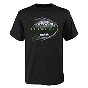 NFL by Outerstuff NFL 西雅图海鹰队青年男孩喷气流短袖 T 恤黑色,青年中号(10-12)