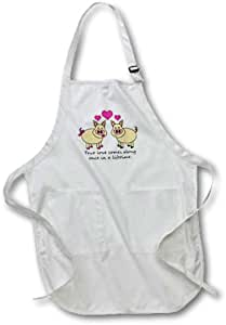 3dRose LLC True Love Comes Along once in A Lifetime Cute Pig Love Design Medium Length Apron with Pouch Pocket, 22 by 24-Inch
