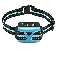 狗狗止吠项圈带智能检测振动和无害震动- 可充电防吠设备,适用于中小型犬和大型犬 蓝色 Adjustable collar for S , M , L dogs