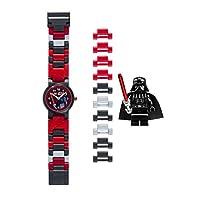LEGO 星球大战 DARTH vader 儿童 buildable 手表,手链和公仔 | 黑色/红色 | 塑料 | 28MM 保护套 diameter| ANALOGUE 石英 | 男孩女孩 | 官方