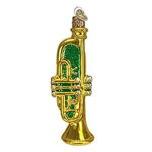 Old World 圣诞乐器玻璃吹制装饰品 Trumpet Green unknown