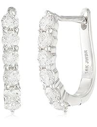 18K 白金圆形钻石耳环(3/ 4cttw )