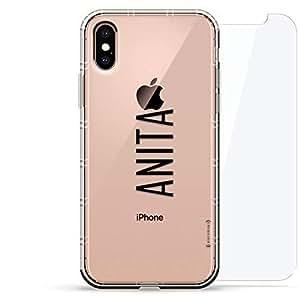 豪华设计师,3D 印花,时尚气袋垫,360 度玻璃保护套装手机壳 iPhoneLUX-IXAIR360-NMANITA2 NAME: ANITA, MODERN FONT STYLE 透明