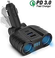 Rocketek 双插座汽车点烟打火机,DC12V/24V USB 快速充电 3.0 多功能车载充电器适配器,兼容手机 GPS 仪表板车载流苏插座扩展器