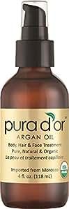 Pura d'or 金标 100%纯正摩洛哥 有机阿甘油(4液体盎司),护理面部,头发和指甲