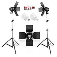 LimoStudio LED 日光灯泡 2 件 x 连续壁灯支架套件 适用于摄影工作室