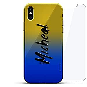 Luxendary 渐变系列 360 套装:透明超薄硅胶保护套 + 适用于 iPhone Xs Max 的钢化玻璃(6.5 英寸)LUX-IMXCRM2B360-NMMICHEAL1 NAME: MICHEAL, HAND-WRITTEN STYLE 蓝色(Dusk)