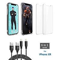 iPhone XR 6 合 1 套裝,包括 2 個高級玻璃屏幕保護膜、1 個保險杠保護殼、1 個超薄保護殼、2 根閃電電纜(長度 91.44 厘米和 182.88 厘米)。