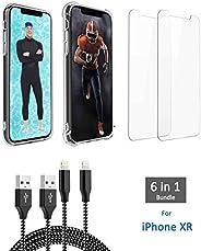 iPhone XR 6 合 1 套装,包括 2 个高级玻璃屏幕保护膜、1 个保险杠保护壳、1 个超薄保护壳、2 根闪电电缆(长度 91.44 厘米和 182.88 厘米)。