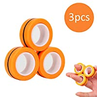 手指磁性环玩具 - 磁铁手链环耐用解锁手指环魔术环道具工具减压器旋转成人玩具 橙色