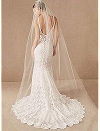 Unsutuo 婚礼面纱梳新娘大教堂面纱 1 层水滴面纱婚礼水钻新娘发梳,118 英寸(149.86 厘米宽,白色)