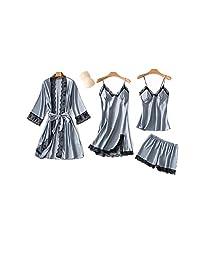 SAPJON 女式 4 件套丝绸缎睡衣套装 Cami 上衣睡衣蕾丝睡衣套装 性感睡衣带胸垫