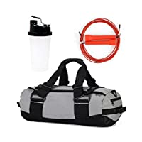 WOD GOD Fit Kit - Duffle Gym Bag Fitness Kit / Adjustable Speed Rope & Shaker Water Bottle