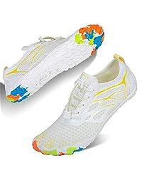 男女皆宜的水鞋,赤脚速干水袜户外运动鞋,适合皮划艇、划船、徒步旅行、冲浪、散步 D - 白色 6.5 Women/5 Men
