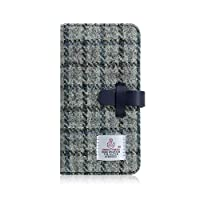 SLG Design iPhone XS Max 壳 手册式 真皮 皮革 Harris Tweed Diary 灰色×*蓝 6.5英寸 苹果 盖 无线充电对应【日本正规代理店商品】 SD13752i65
