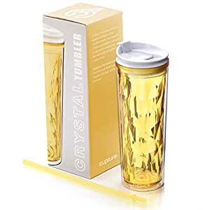 Cupture Crystal Click & Seal Shake Tumbler Cup for Hot or Cold Drinks - 22 oz (Yellow Topaz)