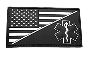 EMT USA Flag Medic EMS Paramedic PVC 橡胶钩贴(PVM3-发光深色)