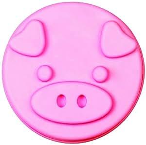 """SiliconeZone Piggy Collection 5.9"""" Non-Stick Mini Piggy Silicone Cake Mold, Pink"""