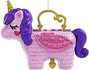 Polly Pocket 獨角獸派對大型袖珍游戲機,配有微型Polly&Lila玩偶,25+個驚喜,樂趣公主派對游樂區:彈跳屋、城堡、秋千、