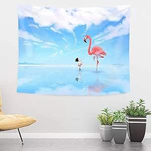 PhiloNatural 女婴火烈鸟挂毯 Medium(59x51in)(150x130cm)