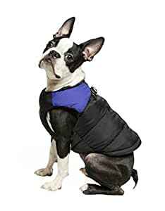 "Gooby - 加垫背心,狗狗夹克外套毛衣带拉链闭合和皮带环 蓝色 X-Small chest (~13"")"