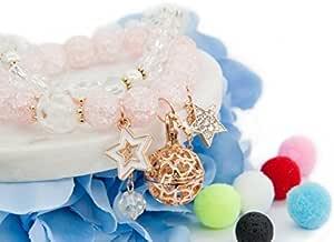 SisFrog 芳香*精油扩散器盒式项链星形吊坠串珠手链,含 5 根棉球,生日,情人节礼物,适合女士、女孩、母亲 粉红色 LB