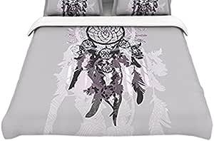 Kess InHouse Belinda Gilles Daydream Dreamer 灰色紫色棉质大号被套,264.16 x 223.52