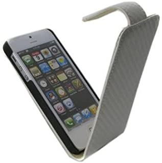 So 'axess HOUAPIPH5CARB 碳黑色手机壳适用于 iPhone 5HOUAPIPH5CARBB 翻盖 白色