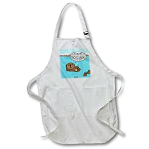 """3dRose apr_61674_4 Sea Otter Sour Grapes Full Length Apron, 22 by 30"""", Black, with Pockets"""