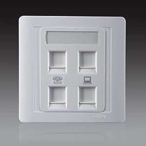 SIMON 西蒙 开关插座55系列两位信息电话 55白色二位双电脑双电话N55249S