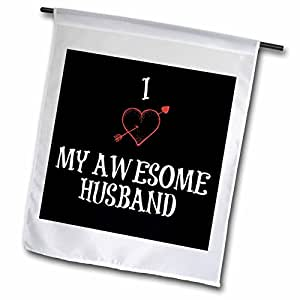 Xander Valentines Day - I Love My Awesome Husband, red heart, black background - Flags 18 x 27 inch Garden Flag