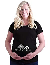 Mommys Little Peanut 可爱大象动物孕妇 T 恤