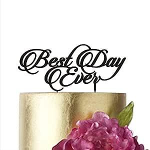 """蛋糕装饰 Best day ever L 金色银色黑色婚礼蛋糕装饰塑料蛋糕装饰快乐胶合板 黑色 width 7"""" unknown"""